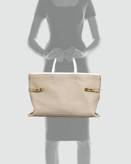 Charlotte Tote Bag, Gray/White
