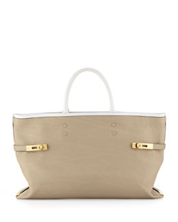 Chloe Charlotte Tote Bag, Gray/White