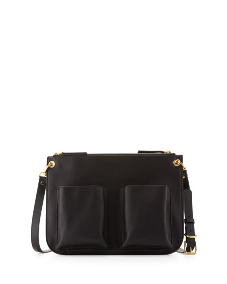 Marni Calfskin Double-Pocket Shoulder Bag, Black