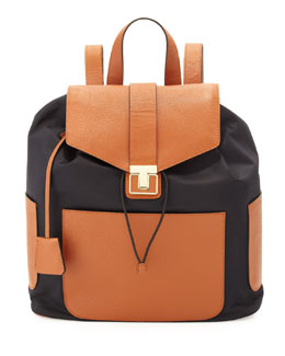 Tory Burch Penn Nylon & Leather Backpack, Black/Tan