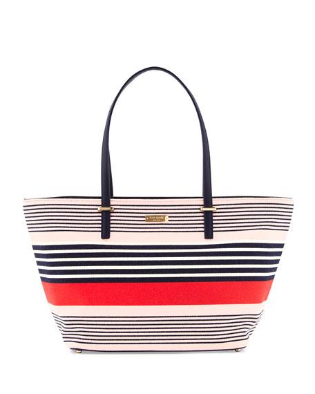 cedar street striped small harmony tote bag