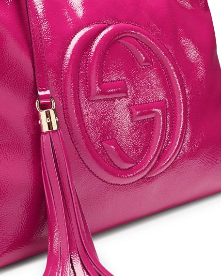 Soho Patent Leather Shoulder Bag, Fuchsia