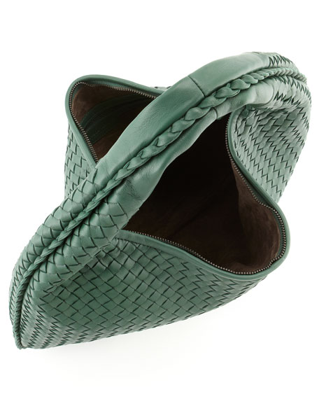 Intrecciato Woven Hobo Bag, Mint Green
