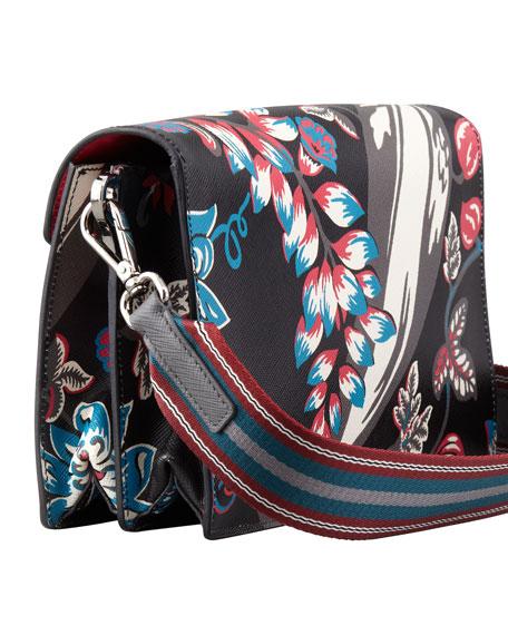 Saffiano Floral-Print Sound Shoulder Bag, Black Multi (Nero Disramage)