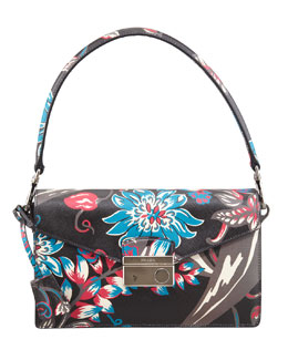 Prada Saffiano Floral-Print Sound Shoulder Bag, Black Multi