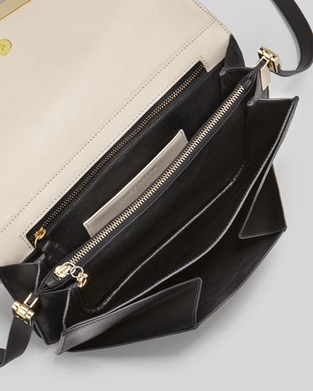 Time's Arrow Affine Small Leather Shoulder Bag, Bone/Black