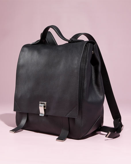 Proenza Schouler PS Large Leather Backpack, Black | Neiman Marcus