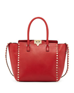 Valentino Rockstud Shopper Tote, Red