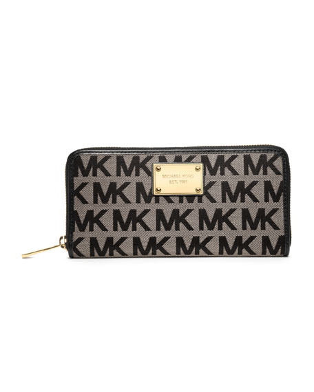 Jet Set Continental Logo Wallet, Beige/Black/Black