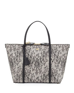 Dolce & Gabbana Escape Lace-Print Leather Shopper, Black Multi