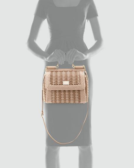 48ae4978f759 Dolce   Gabbana Miss Sicily Woven Flap Satchel Bag