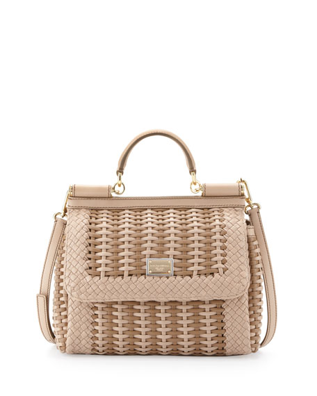 Miss Sicily Woven Flap Satchel Bag, Beige