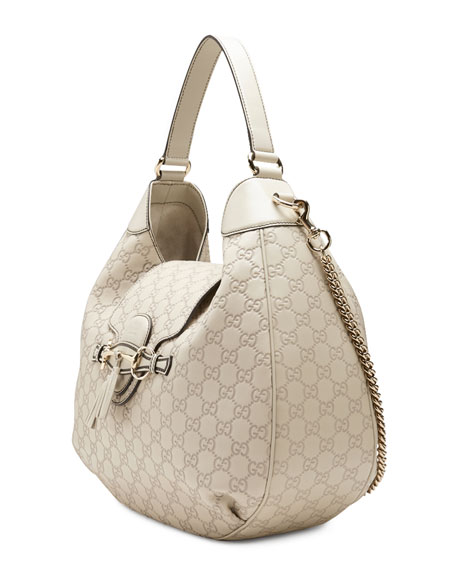 Emily Guccissima Leather Hobo Bag, White