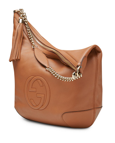 Soho Leather Chain Shoulder Bag, Tan