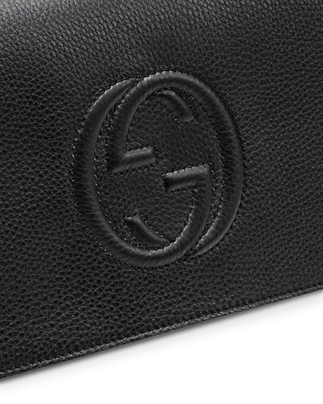 Gucci Soho Leather Clutch Bag, Black