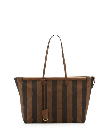 Pequin-Stripe Tote Bag, Brown/Forest Green