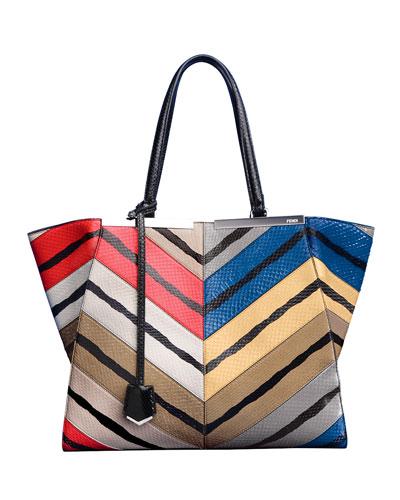 Fendi Trois-Jour Snakeskin Grande Tote Bag, Multicolor