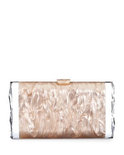Lara Acrylic Ice Clutch Bag, Nude