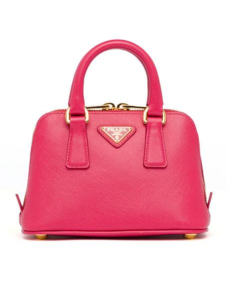 Mini Saffiano Promenade Bag, Pink (Peonia)