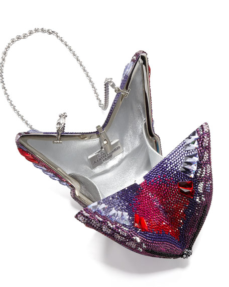 New Butterfly Minaudiere, Silver/Amethyst