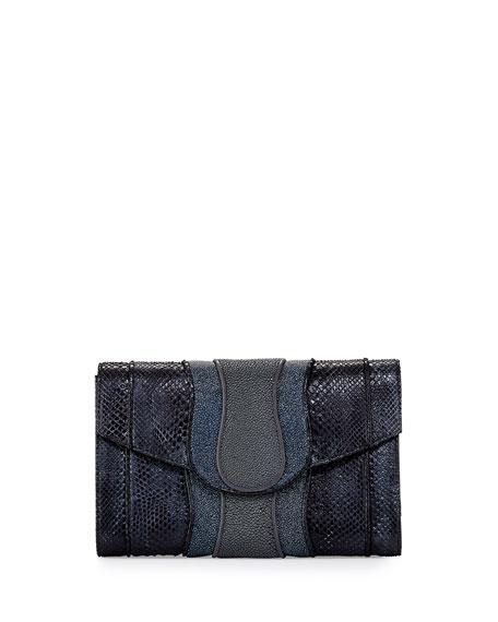 Herzog Python & Stingray Clutch Bag, Gray Multi