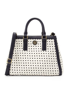 Tory Burch Robinson Basket-Weave Triangle Tote Bag, White/Navy