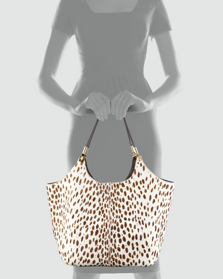 Spotted Calf Hair Shoulder Tote Bag