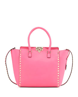 Valentino Rockstud Medium Shopper Tote Bag, Hot Pink
