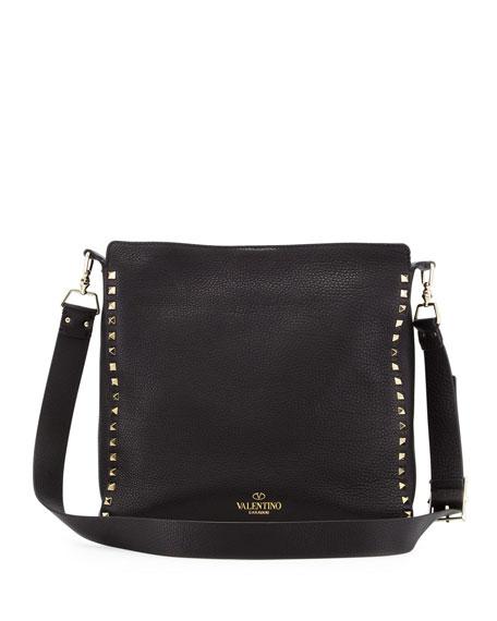 Rockstud Flip-Lock Messenger Bag, Black