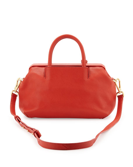 Sandra Mini Leather Satchel Bag, Red