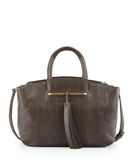 Gloria East/West Snakeskin Tote Bag, Dark Gray