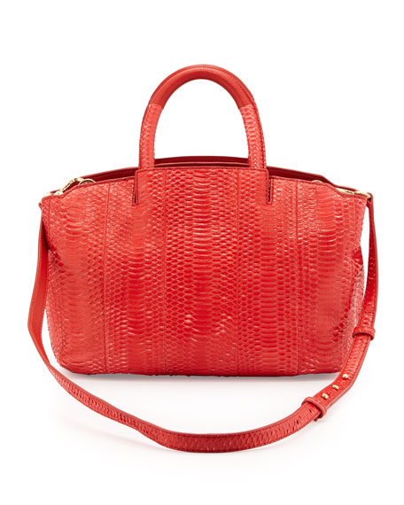 Gloria Small East/West Snakeskin Tote Bag, Red