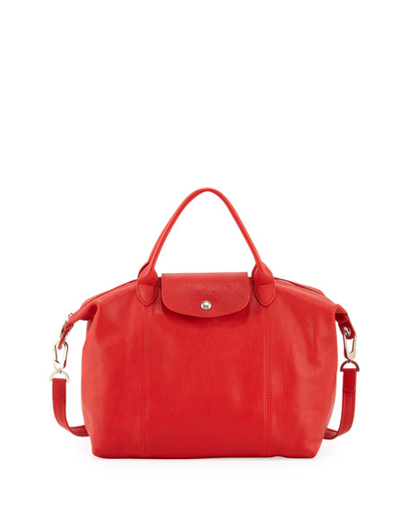 Le Pliage Cuir Handbag with Strap, Vermillion