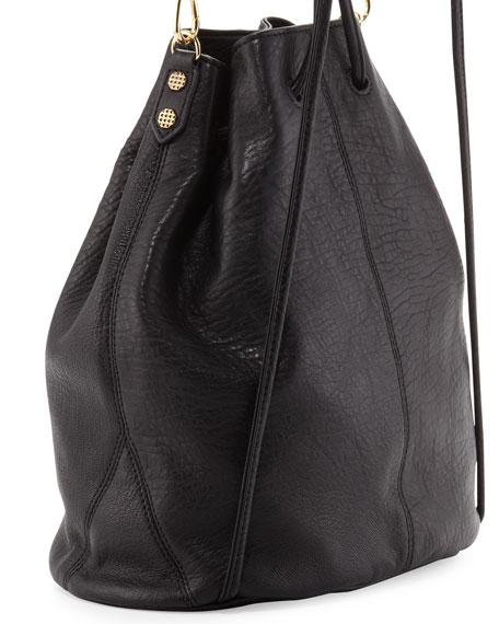Elizabeth and James Cynnie Pebbled Leather Drawstring Backpack, Black