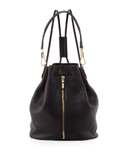 Elizabeth and James Cynnie Pebbled Leather Drawstring Backpack, Black