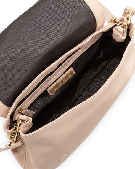 Cynie Lambskin Small Crossbody Bag, Champagne