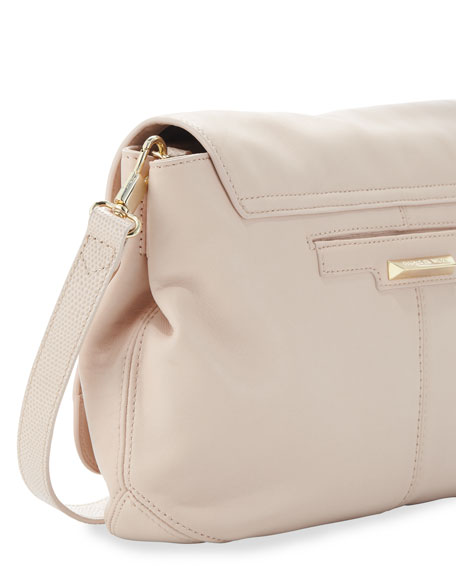 Cynie Lambskin Small Crossbody Bag, Champagne