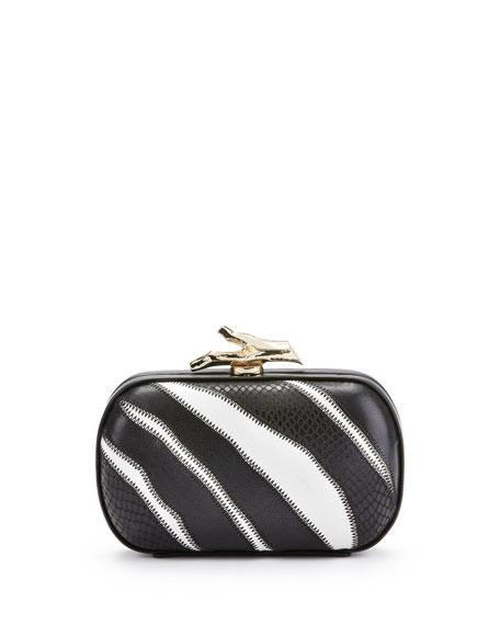 Lytton Zebra Minaudiere, Black/White