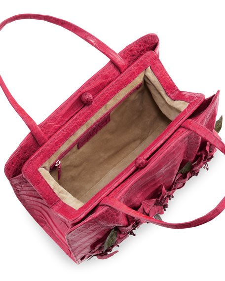 Large Floral-Applique Crocodile Satchel Bag, Pink