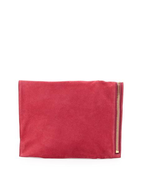 Alix Suede Padlock & Zip Shoulder Bag, Hot Pink