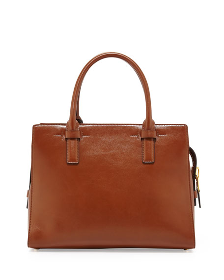 Charlotte Leather Small Tote Bag, Tan