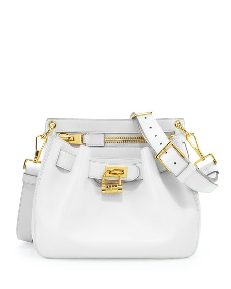 Lock-Front Crossbody Bag, White