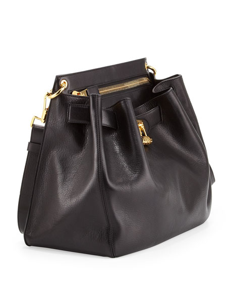 Large Lock-Front Crossbody Bag, Black