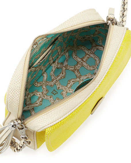 Snake-Print Zip-Top Shoulder Bag