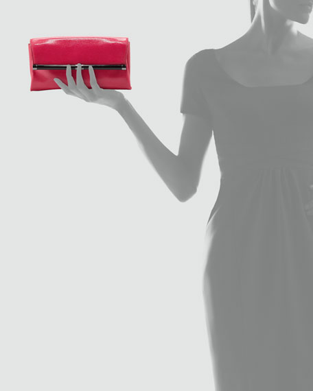 440 Lizard-Embossed Envelope Clutch Bag, Raspberry