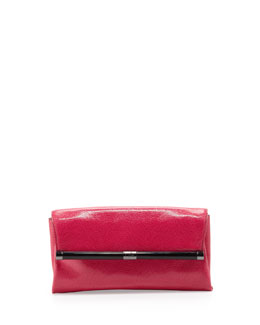 Diane von Furstenberg 440 Lizard-Embossed Envelope Clutch Bag, Raspberry