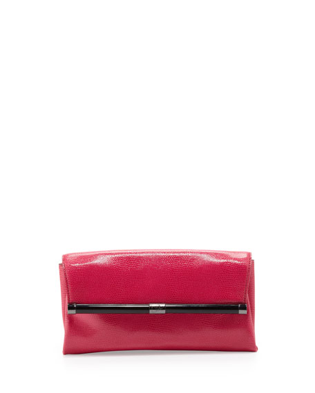 440 Lizard-Embossed Envelope Clutch Bag, Raspberry