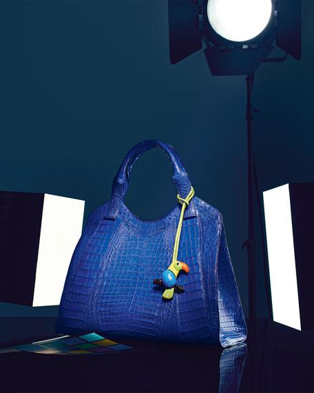 Crocodile Satchel Bag, Blue