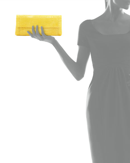 Back-Pocket Crocodile Clutch Bag, Yellow