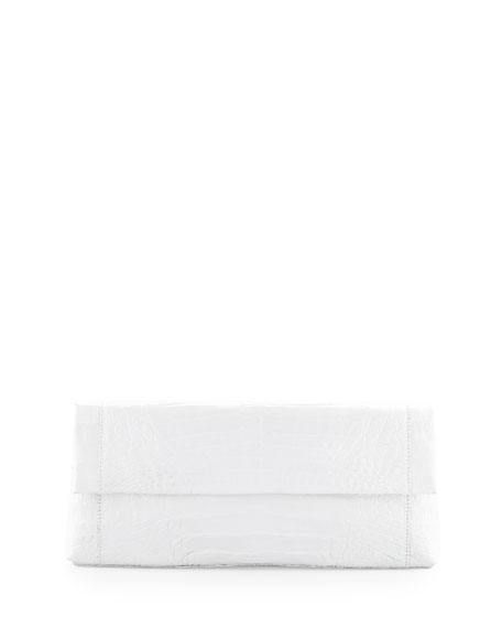 Back-Pocket Crocodile Clutch Bag, White
